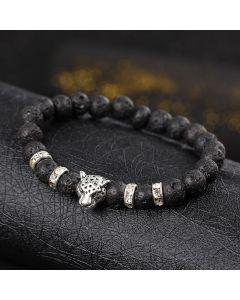 Мъжка гривна с лава камъни и метален детайл лъвска глава